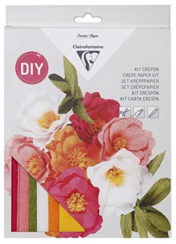 Clairefontaine 97705C Kit Crépon Fleuriste – DIY Bouquet de Fleurs – Fleurs Papier Crépon – Ruban Adhésif Floral – Loisirs Créatifs Adultes