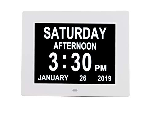 [Newest Version] Digital Day Calendar Alarm Clock- 8 Alarms,Non-Abbreviated Day & Month Memory Loss,Dementia,Alzheimer's Vision Impaired Clock for Elderly/Seniors (8'' White)