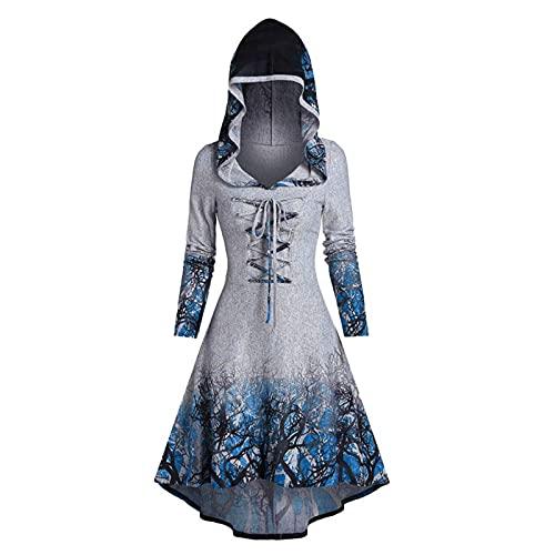 Langarm mit Kapuze Mittelalter Kleid Damen Renaissance Kostüm Cosplay Dress Oversize Halloween Party Kostüm Karneval Unregelmäßig Korsagen Korsett Gothic Kleid Drucken Cape Vintage Steampunk Kleid