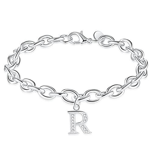 1 pulsera de plata con diseño de letra R y diamantes de imitación delicados hechos a mano para el...