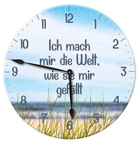Posten Anker Wanduhr Spruch Ich mach Mir die Welt, wie sie Mir gefällt   Designer Uhr batteriebetrieben