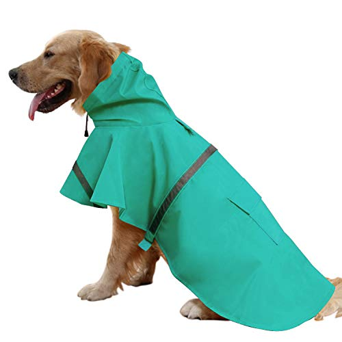 Mikayoo Large Dog Raincoat Ajustable Pet Waterproof Clothes Lightweight Rain Jacket Poncho Hoodies with Strip Reflective(Lake Blue,XL)