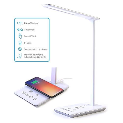 FLUX'S - Lámpara Escritorio LED con Cargador Inalámbrico y Puerto de carga USB, Flexo LED de Lectura con 4 Modos y 10 Niveles de Brillo, Control Táctil y Temporizador, Bajo Consumo (Blanco)