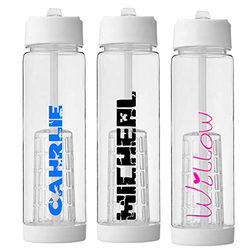 Print Maniacs Personalised Water Bottle Any Name School Childrens Kids Adult Gym Sports Outdoor Hiking Custom Sport Beaker Removable Fruit Infuser