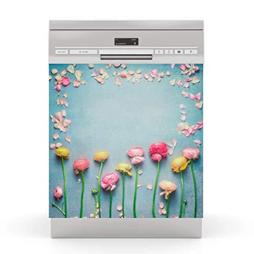 wodtke-werbetechnik Spülmaschinen Aufkleber Blumen Retro