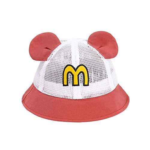 Sombrero para niños Verano Alfabeto Coreano Orejas de Dibujos Animados Protector Solar sombrilla Gorra de Red para bebés Sombrero de Pescador para niños