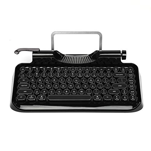 RYMEK Typewriter Style Mechanical Wired & Wireless Keyboard with Tablet Stand, Bluetooth Connection (All Black)