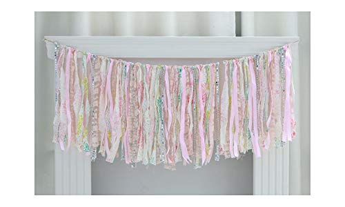 Lace Fabric Tassel Garland, Vintage Handmade Birthdays, Bridal Showers, Baby Showers, Photo Shoots, Room Decor Banner (Pink)