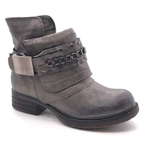 Angkorly - Damen Schuhe Stiefeletten - Reitstiefel - Kavalier - bi-Material - Kette - Knoten -...
