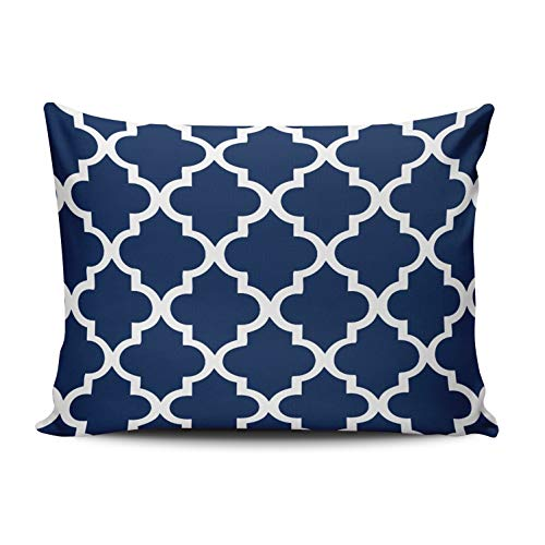 KAQIU Home Decoration Pillowcase White Navy Blue Quatrefoil Pattern Custom Cushion Standard Size 16x24 Inch Throw Pillow Cover Hidden Zipper Chic & Personality Rectangular One Sided Printed Design