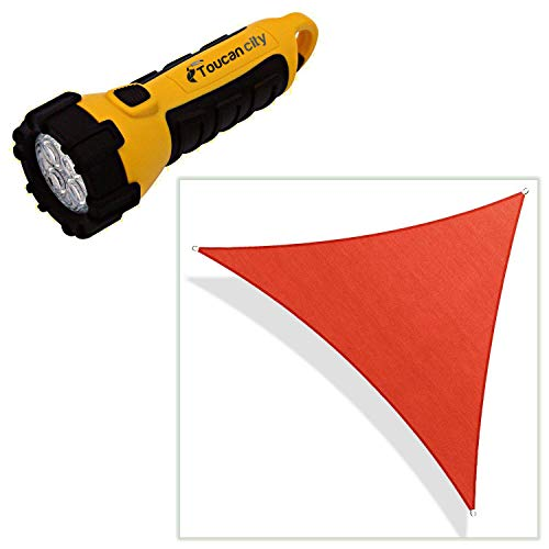 Toucan City LED Flashlight and COLOURTREE 16 ft. x 16 ft. 190 GSM Red Equilateral Triangle Sun Shade Sail Screen Canopy, Outdoor Patio and Pergola Cover TAPT16-5