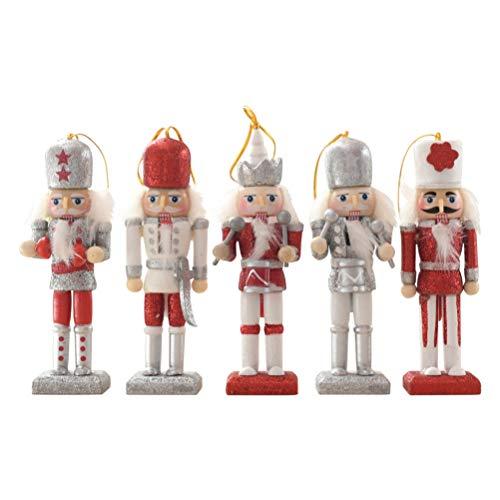 Justpe Nussknacker Set Weihnachtsbaum Ornamente, Holz Weihnachtsbaum Dekoration Figuren Soldat Puppenspielzeug für Outdoor-Weihnachtsdekor Zubehör, 12CM