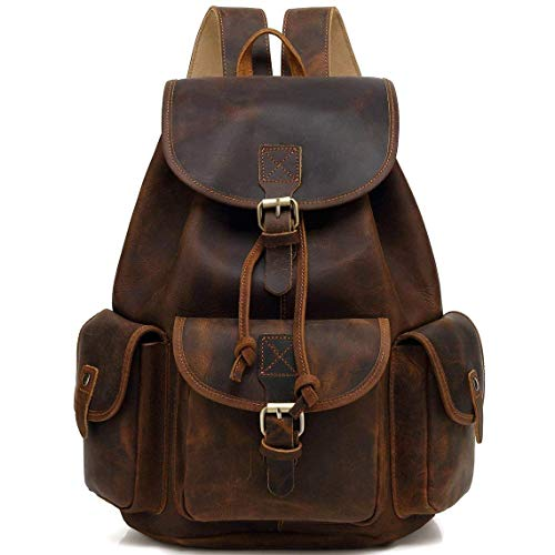 HG-LTHR 40 Cm Zaino Bagaglio Borsa Zainetto Carry on a Palestra Mano in Vera Pelle da Uomo Donna Leather Laptop Backpack da Viaggio Scuola Universita Professionale Casual Vintage Elegante Regalo