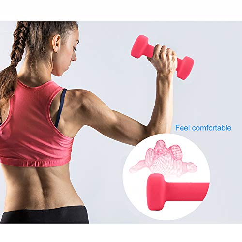 CAMDEA Neoprene Weights Dumbbell Set of 2, Pairs Hand Dumbbells for Women Men, Training Fitness Kit Workout at Home Outdoor 2 LB, Pink