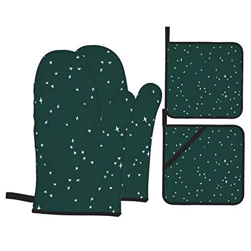 Juego de 4 manoplas de horno y soportes para ollas, diseño de estrellas dispersas en color blanco sobre abeto verde, resistentes al calor, guantes de horno para hornear de forma segura