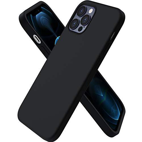 ORNARTO Custodia Compatibile con iPhone 12 Cover Sottile 6,1,Compatibile con iPhone 12 PRO Cover Silicone Liquido Protezione Completa in Gomma Gel Morbida con Fodera in Microfibra 6,1 Nero