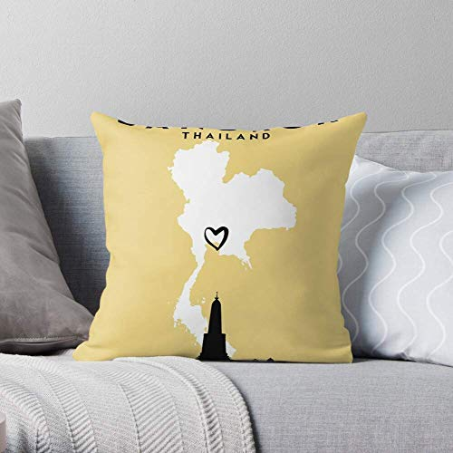 XCNGG Thai Asia Silhouette Thailand Gold Heart Bangkok Map - Pillow Case Cotton Polyester - Indoor Decorative Pillow Square Cushion Cover for Bedroom Sofa Living Room