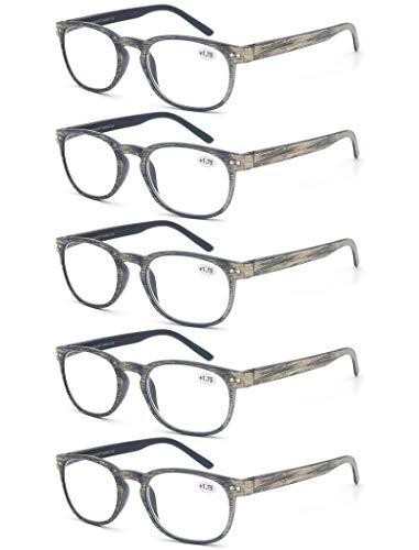 Un Pack de 5 Gafas de Lectura 4.0 para Hombres/Mujeres - Lente Clara,Vision Clara,Efecto Madera - Moda,Practicas,Ligeras,Comodas
