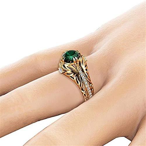 K-ONE Joyas de Oro de 14 K, Anillo de Esmeralda de Diamante, Adorno de joyería, Anillos de Diamantes, Bizuteria para Mujeres, Anillo de Esmeralda de Piedras Preciosas de 14 K