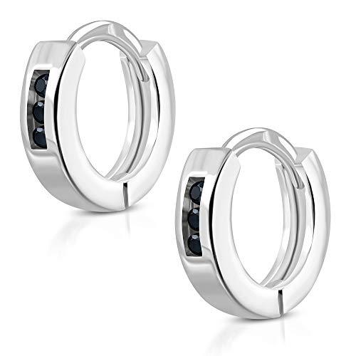 Tata Gisèle - Pendientes pequeños de aro de acero inoxidable plateado – 3 cristales negros
