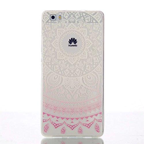 Huawei P8 Lite Funda, MUTOUREN Funda de Silicona Suave Case Cover Protección cáscara Soft Gel TPU Carcasa Funda para Huawei P8 Lite- White Pink Tribal Mandala