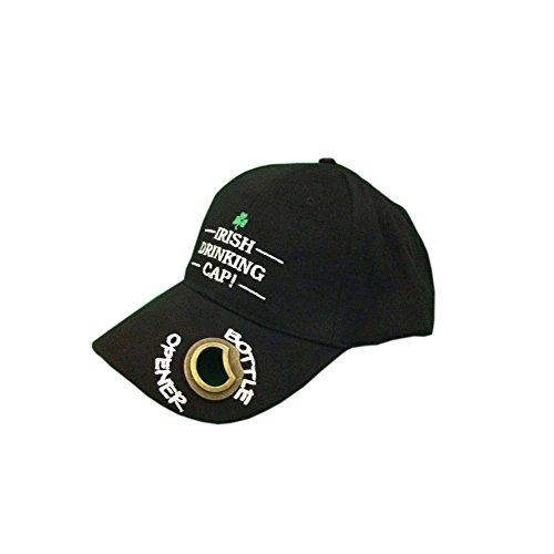 Schwarze Baseballmütze mit Schriftzug Irish Drinking Cap und Flaschenöffner aus Metall