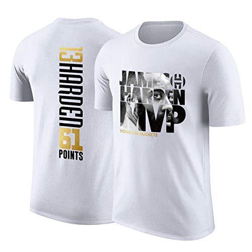 Rockets James Harden MVP Jersey de Baloncesto Camiseta de Manga Corta Cuello Redondo Algodón para Hombres