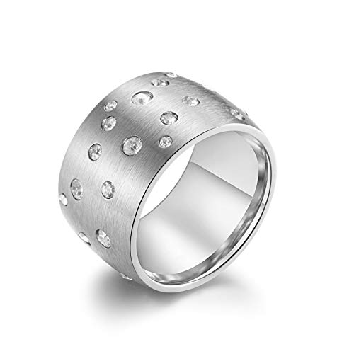 KnSam Ring Aus Edelstahl Breiter Ring Sternenhimmel Silber Ringe Für Unisex