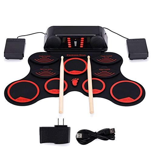 LOVEQIZI Elektronisches Schlagzeug Kinde 10 Pads Aufrollbares elektrisches Schlagzeug-Set Elektrisches Schlagzeug tragbares Übungs-Schlagzeug Eingebauter Doppel-Stereolautsprecher