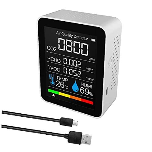 Hainice Monitor di qualità dell'Aria Personale, Tester di CO2 Multifunzione, Test del sensore di umidità della Temperatura Digitale Tester di CO2 Meter 5 in 1 Rilevatore di qualità dell'Aria Bianco