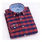 KAKAYO Camisa de algodón de Oxford de Rayas de los Hombres Solo Parche de Bolsillo de la Manga Larga estándar de Ajuste con Botones en Camisas (Color : 201806 22, Size : 41)