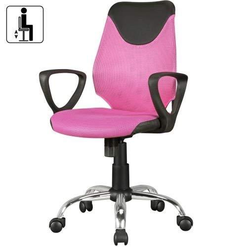 Amstyle KiKa Chaise de Bureau pour Enfant en Tissu Rose 60 x 94 x 60 cm