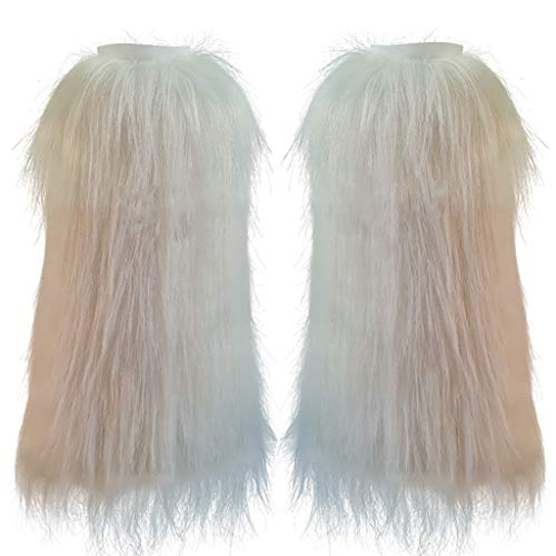 FHQHTH Fuzzy Faux Fur Leg Warmers Fur Heels Long Boots Cuff Cover has Elasticity One Pair [White, Large]