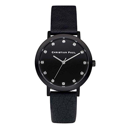 Christian Paul swl-01Hombre Acero Inoxidable Cuero Negro banda esfera de color negro reloj