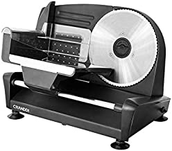 Meat Slicer, CRANDDI Electric Deli Food Slicer with 7.5'' Stainless Steel Blade, Adjustable Thickness Knob Perfect for Deli Ham, Cheese, Bread, Food Pusher & Non-slip Feet, Slicer Machine for Home Use