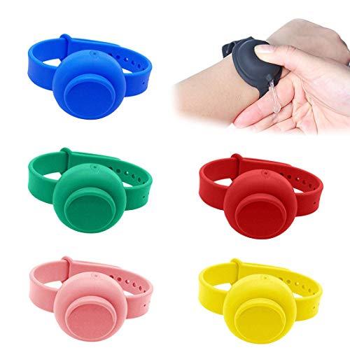 Yolistar 6 Pezzi Dispenser per bracciale, può essere riempito con braccialetto dispenser in silicone liquido per la pulizia dispenser portatile, adatto per viaggi, lavoro, scuola, all'aperto