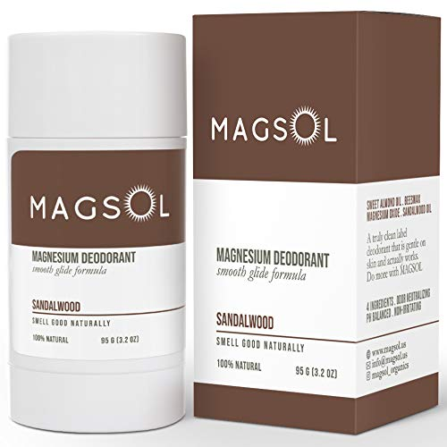 Sandalwood Magnesium Deodorant for Men and Women - 100% Natural Deodorant - Clean Label Only 4 Ingredients - Perfect for Ultra Sensitive Skin - Large 3.2 oz Lasts over 4 Months (Sandalwood)