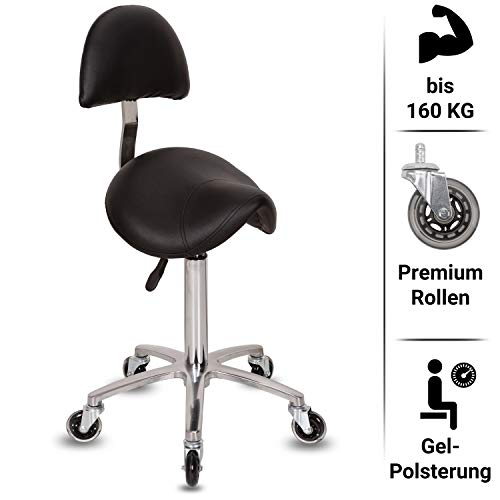 Staboos Profi Arbeitshocker - Drehhocker höhenverstellbar von 60-80cm - Rollhocker Premium Rollen - Büro Hocker mit Lehne - Gel Sattel Hocker aus Alu (Silber)