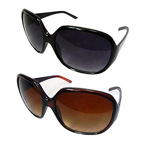 Fba-8050001 黒と茶の2個セット でかレンズ サングラス ビックレンズ ビックフレーム レンズあり サングラス 小顔 (黒と茶) [並行輸入品]