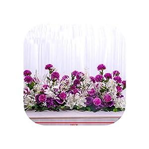 Heart-To-Heart European Artificial Flower Row Party Wedding Arch Backdrop Decor Arrangement De Fleurs De Mariage Rose Peonies Pompom,Purple 100Cm