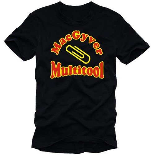 Coole-Fun-T-Shirts Mac Gyver Multitool Men's T-Shirt Black Size:L