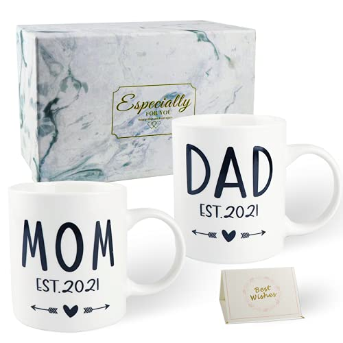 New Mom and Dad Est 2021 Coffee Mug Set Gifts,New Parents Mug Gifts,First Time Pregnancy Announcement Gifts for New Couples Ceramic Mug Set with Marble Gift Box 11 Oz White