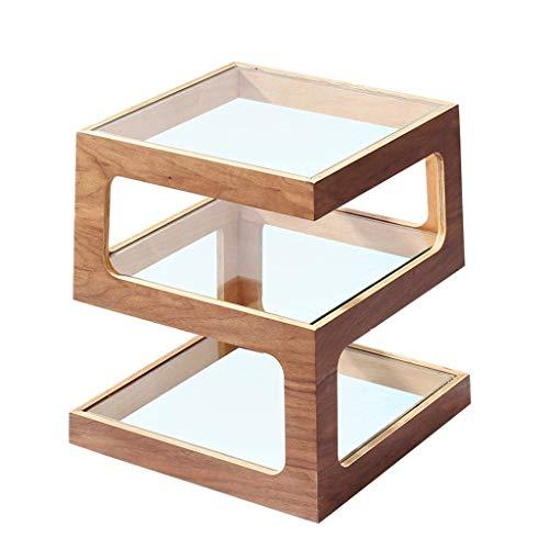 Mesa Cuadrada Lateral pequeña Capa de café Tabla Doble Cuadrado sofá de la Esquina de la Mesa Templado Simple Estante de Vidrio (Color : Brown, Size : 40 * 40 * 50cm)