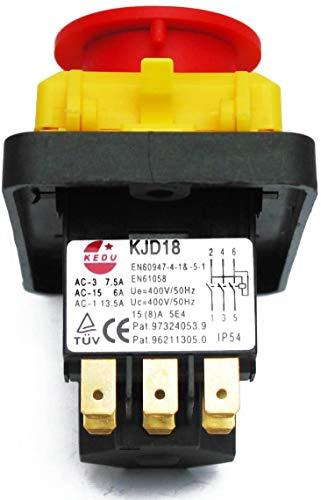 BUZE Orginal Kedu KJD 18-2 Hauptschalter 400 V 3 polig Geräteschalter Notaus mit Unterspannungsauslösung und Schutz gegen selbstständiges Wiederanlaufen nach Spannungseinbruch und Spannungswiederkehr