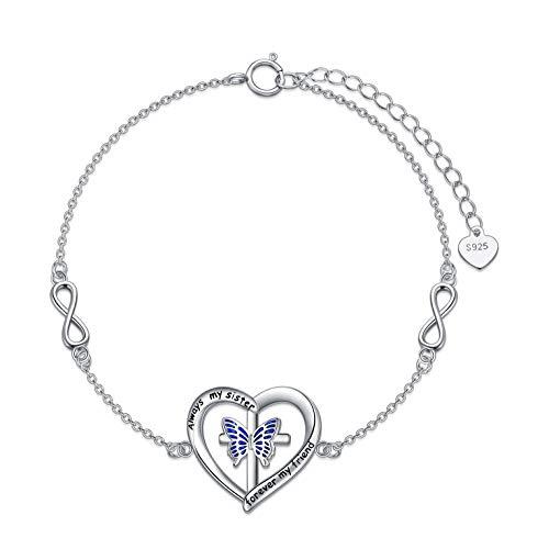 Pulseras de plata de ley 925 Infinity Always My Sister Forever My Friend, pulseras de amistad ajustables para mujeres, regalos para mujeres y niñas