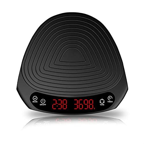 JSJJAUJ Corporal Báscula Escala de café Escala electrónica Smart Digital Scale Pour Coffee Electronic Drip Coffe Coffee Scale con Temporizador 2kg Escala (Color : Black, Load Bearing : 2Kg)