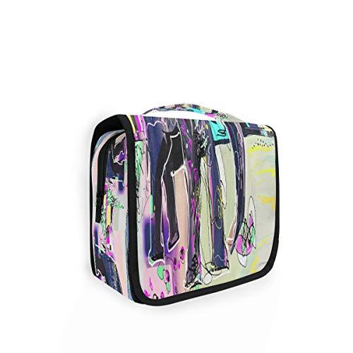 TropicalLife Kulturtasche zum Aufhängen, abstraktes Tiermotiv, indischer Elefant, Kulturbeutel, Kosmetiktasche, Reisetasche mit 4 Fächern für Frauen