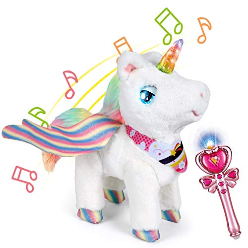 Unicorn Toy for Girls, Magical Electronic Unicorn Plush Pet Toy With Remote Control Magic Stick, Color Changing Horn, Music, Walking Stuffed Animal Toy Gift for Age 3-10 Year Toddler Girls Kid Pet Toy