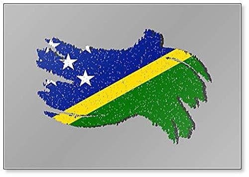 Kühlschrankmagnet Grunge Salomon Islands Flagge mit Schatten auf isoliertem Hintergr& Illustration