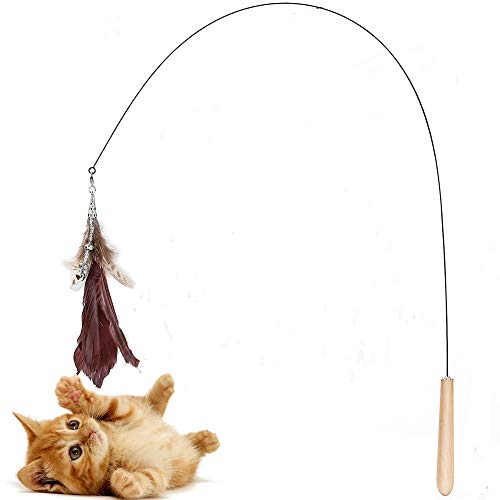 N/N Cat Wand Toys Bendable, Natural Feather Refills, Lovely Feather Teaser Cat Interactive Toy with Bell for Indoor